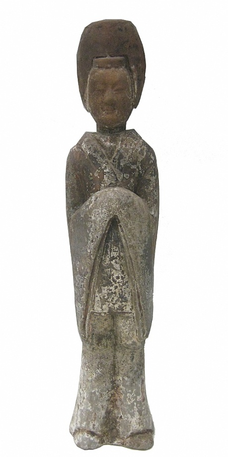 A Northern Wei dynasty grey pottery and polychrome decorated figure of a courtesan ,